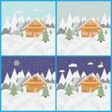 Σύνολο με τις εικόνες του τοπίου και του σαλέ σκι στα βουνά με το χιόνι και τα δέντρα μέρα και νύχτα με τις χιονοπτώσεις Στοκ Φωτογραφίες
