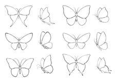 Σύνολο με τις σκιαγραφίες των πεταλούδων Στοκ Φωτογραφίες