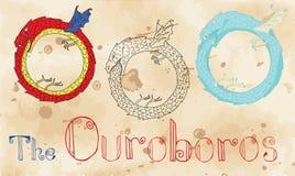 Σύνολο με το μεσαιωνικό πλάσμα Ouroboros διανυσματική απεικόνιση