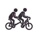 Σύνολο με το ποδήλατο διαδοχικό και τα εικονογράμματα ανθρώπων Στοκ Φωτογραφίες