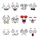 Σύνολο με το πρόσωπο smiley κινούμενων σχεδίων Στοκ φωτογραφίες με δικαίωμα ελεύθερης χρήσης