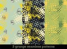 Σύνολο με τρία άνευ ραφής σχέδια στο ύφος grunge με τις ζωηρόχρωμες ημίτοές τυπωμένες ύλες απεικόνιση αποθεμάτων