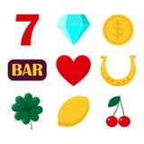 σύνολο μηχανήματος τυχερών παιχνιδιών με κέρματα εικονιδίων Χαρτοπαικτική λέσχη και σημαδιών διανυσματική απεικόνιση