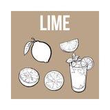 Σύνολο, μισός, ασβέστης τετάρτων και ποτήρι της λεμονάδας με τον πάγο ελεύθερη απεικόνιση δικαιώματος
