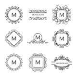 Σύνολο μονογραμμάτων περιλήψεων και προτύπων σχεδίου λογότυπων στοκ εικόνα με δικαίωμα ελεύθερης χρήσης