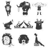 Σύνολο μονοχρωματικών εικονιδίων τσίρκων, στοιχεία σχεδίου στο άσπρο υπόβαθρο Επίπεδο ύφος Στοκ Εικόνες