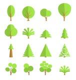 Σύνολο μοντέρνων δέντρων, επίπεδο σχέδιο Στοκ Εικόνα