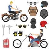 Σύνολο μοτοσυκλετιστών, iclude εργαλεία, γυαλιά, κράνος, balaclava, σακίδιο πλάτης Στοκ φωτογραφία με δικαίωμα ελεύθερης χρήσης
