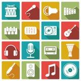 Σύνολο μουσικού εικονιδίου επίσης corel σύρετε το διάνυσμα απεικόνισης Στοκ Εικόνες