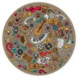 Σύνολο μουσικών αντικειμένων κινούμενων σχεδίων doodle Στοκ Εικόνα