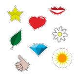 Σύνολο μπαλωμάτων Κίτρινο αστέρι, κόκκινα χείλια, χέρι δροσερό, διαμάντι Στοκ Εικόνα