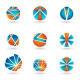 Σύνολο μπλε και πορτοκαλιών λογότυπων Στοκ εικόνα με δικαίωμα ελεύθερης χρήσης