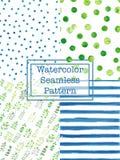 Σύνολο μπλε και πράσινου χρώματος σχεδίων watercolor άνευ ραφής Στοκ Εικόνες