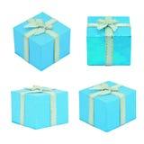 Σύνολο μπλε κιβωτίου δώρων στο άσπρο υπόβαθρο Στοκ εικόνα με δικαίωμα ελεύθερης χρήσης
