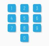 Σύνολο μπλε κουμπιών με τους αριθμούς από 0 έως 9 απεικόνιση αποθεμάτων