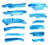Σύνολο μπλε μελανιού watercolor Στοκ Εικόνα