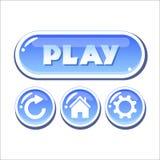 Σύνολο μπλε υαλωδών διανυσματικών κουμπιών Στοκ Εικόνες