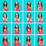 Σύνολο νέου woman& x27 πορτρέτα του s με τις διαφορετικές ευτυχείς συγκινήσεις Στοκ φωτογραφία με δικαίωμα ελεύθερης χρήσης