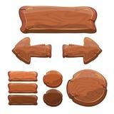 Σύνολο ξύλινων σημαδιών, ξύλινα σημάδια κινούμενων σχεδίων, διάνυσμα Στοκ Φωτογραφίες