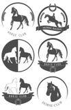 Σύνολο λογότυπου, εμβλήματος, ετικετών και διακριτικών λεσχών αλόγων Στοκ φωτογραφία με δικαίωμα ελεύθερης χρήσης