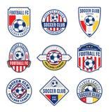 Σύνολο λογότυπου λεσχών ποδοσφαίρου ποδοσφαίρου Στοκ Εικόνα