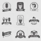 Σύνολο λογότυπου παγωτού, διακριτικά, ετικέτες Στοκ Εικόνες