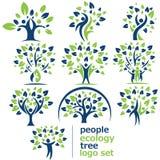 Σύνολο λογότυπων δέντρων οικολογίας ανθρώπων Στοκ Εικόνες
