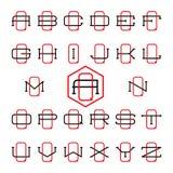 Σύνολο λογότυπων αθλητικών ομάδων κολλεγίου Δύο λεπτές επιστολές Στοκ Φωτογραφία