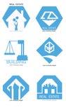 Σύνολο λογότυπων ακίνητων περιουσιών Διανυσματικό επίπεδο πακέτο εικονιδίων Στοκ Εικόνες