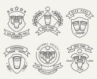 Σύνολο λογότυπων γραμμών μπύρας pong διανυσματική απεικόνιση