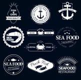 Σύνολο λογότυπων θαλασσινών Εστιατόριο αστακών καβουριών Στοκ Εικόνα