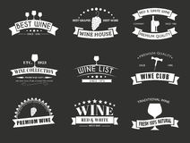 Σύνολο λογότυπων κρασιού με τις κορδέλλες Στοκ φωτογραφία με δικαίωμα ελεύθερης χρήσης
