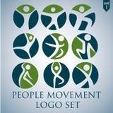 Σύνολο λογότυπων μετακίνησης ανθρώπων Στοκ φωτογραφία με δικαίωμα ελεύθερης χρήσης