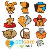 Σύνολο λογότυπων προσοχής της Pet Στοκ φωτογραφία με δικαίωμα ελεύθερης χρήσης