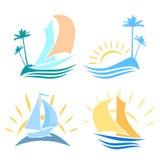 Σύνολο λογότυπων στη θάλασσα Στοκ Εικόνες