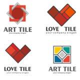 Σύνολο λογότυπων των κεραμικών κεραμιδιών επίσης corel σύρετε το διάνυσμα απεικόνισης 2 διακοσμήσεις που τίθεν Στοκ Φωτογραφίες
