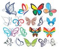 Σύνολο λογότυπων των πεταλούδων Στοκ Εικόνα