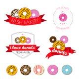 Σύνολο λογότυπων donuts, καφές, πρόχειρο φαγητό, επιλογές Στοκ Εικόνες
