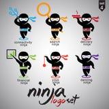 Σύνολο 4 λογότυπων Ninja Στοκ Φωτογραφίες