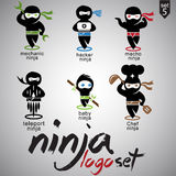 Σύνολο 5 λογότυπων Ninja Στοκ φωτογραφία με δικαίωμα ελεύθερης χρήσης