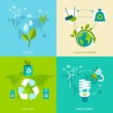 Σύνολο οικολογίας και ανακύκλωσης Στοκ εικόνες με δικαίωμα ελεύθερης χρήσης