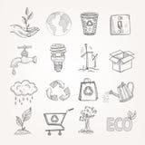 Σύνολο οικολογίας Doodles Στοκ εικόνα με δικαίωμα ελεύθερης χρήσης