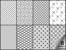 Σύνολο οκτώ μονοχρωματικών άνευ ραφής σχεδίων ελεύθερη απεικόνιση δικαιώματος