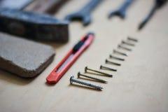 Σύνολο οργάνων για την επισκευή στο ξύλο στοκ εικόνα