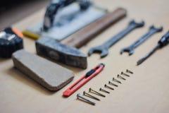 Σύνολο οργάνων για την παραγωγή της επισκευής στο ξύλο Στοκ εικόνες με δικαίωμα ελεύθερης χρήσης