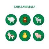 Σύνολο οριζόντια απομονωμένων εικονιδίων σχεδίου με τα ζώα αγροκτημάτων Στοκ εικόνες με δικαίωμα ελεύθερης χρήσης