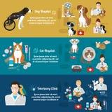 Σύνολο οριζόντιων εμβλημάτων κατοικίδιο ζώο προσοχής Κλινική κτηνιάτρων Επίπεδο σχέδιο Στοκ Φωτογραφία