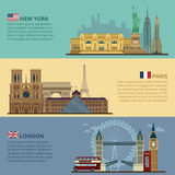 Σύνολο οριζόντιων εμβλημάτων ταξιδιού - Νέα Υόρκη, Παρίσι και Λονδίνο διανυσματική απεικόνιση