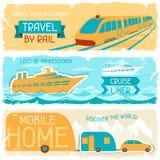 Σύνολο οριζόντιων εμβλημάτων ταξιδιού στο αναδρομικό ύφος Στοκ εικόνα με δικαίωμα ελεύθερης χρήσης