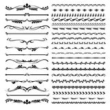 Σύνολο οριοθετών κειμένων και διακοσμητικών καλλιγραφικοί floral στοιχείων γραμμών και στοκ εικόνες